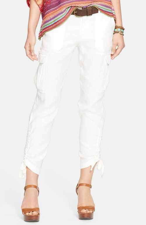 Linen Blend Drawstring Hem Cargo Pants by Lauren Ralph Lauren in Sex and the City