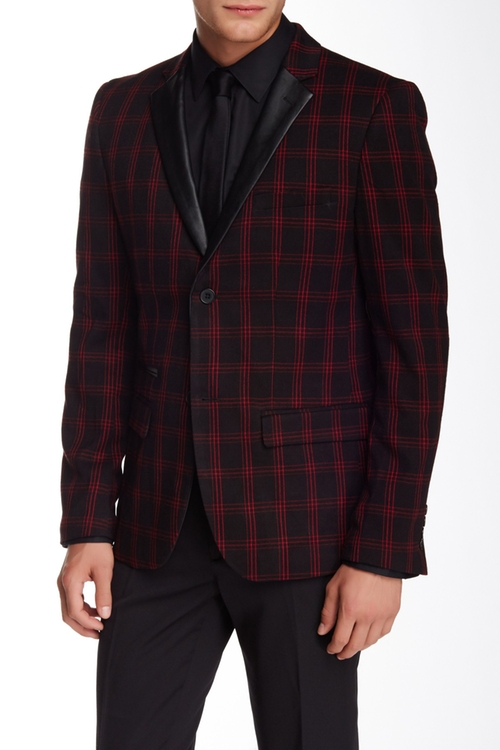 Glenn Plaid Two Button Faux Leather Notch Lapel Sport Coat by Edge By WD.NY in X-Men: Apocalypse