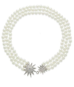 Three-Row Simulated Pearl Necklace by Kenneth Jay Lane in Black-ish