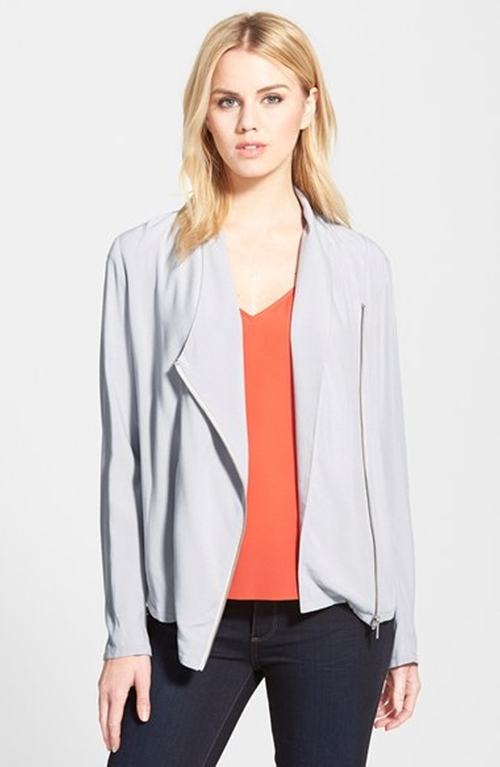 Draped Moto Jacket by Trouvé in Pretty Little Liars - Season 6 Episode 2