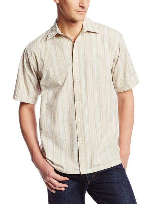 Men's Short Sleeve Stripe Pucker Button Down Shirt by Van Heusen in St. Vincent