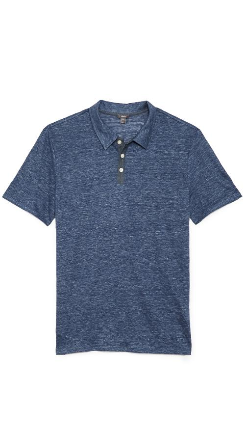 Linen 3 Button Polo Shirt by Vince in Let's Be Cops