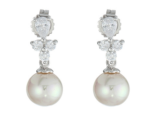 Pearl Drop Pear Shape Earrings by Majorica in Ricki and the Flash
