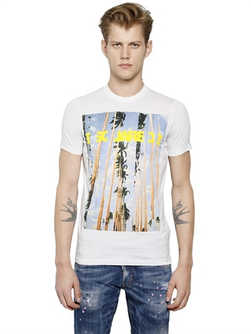 Palms Printed Cotton T-Shirt by Dsquared2 in We Are Your Friends