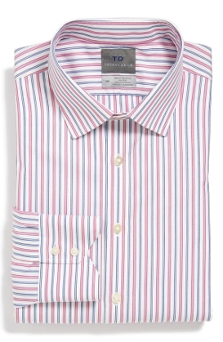 Regular Fit Non-Iron Stripe Dress Shirt by Thomas Dean in Silver Linings Playbook