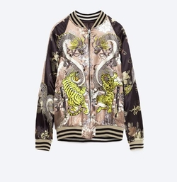 Oriental Tiger Dragon Embroidered Bomber Jacket by Zara in Gypsy