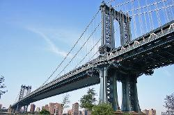 New York City, New York by Manhattan Bridge in New Year's Eve