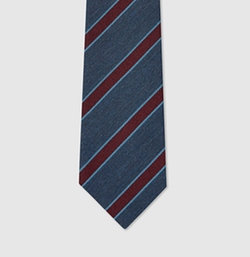 Striped Silk Viscose Tie by Gucci in The Man from U.N.C.L.E.