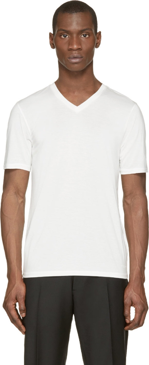 White V-Neck T-Shirt by Burberry London in Fast Five