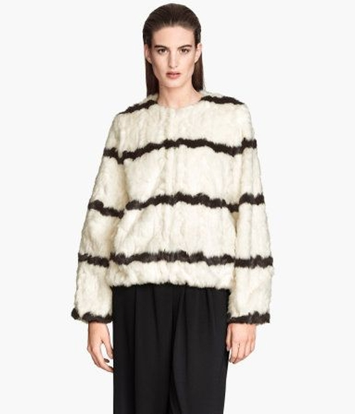 Short Faux Fur Jacket by H&M in Me Before You