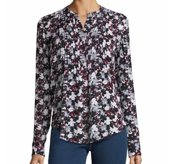 Goldie Floral Silk Tuxedo Blouse by Veronica Beard in The Good Fight