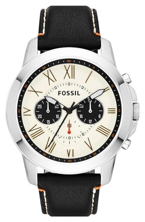 'Grant' Round Chronograph Leather Strap Watch by Fossil in We're the Millers