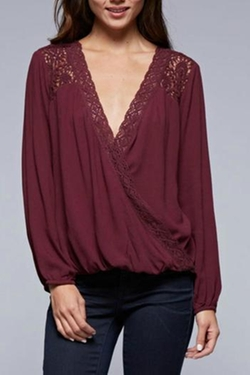 Lace Trim Blouse by Love Stitch in Nashville