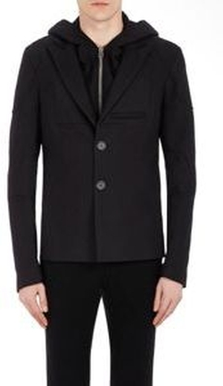 Men's Detachable-Placket Two-Button Sportcoat-Black by Hood by Air in Empire