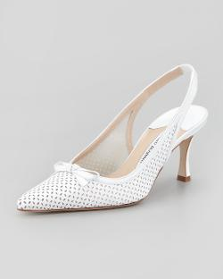 Olaschi Perforated Leather Slingback Pump by Manolo Blahnik in The Other Woman