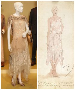 Custom Made Sleeveless Lace Dress by Catherine Martin (Costume Designer) in The Great Gatsby