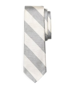 Bold Stripe Tie by Brooks Brothers in Black or White