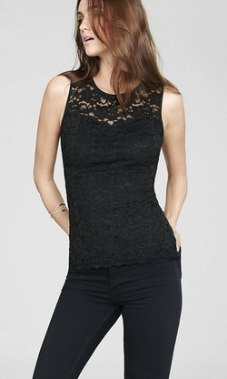 Fitted Lace Tank Top by Express in Arrow