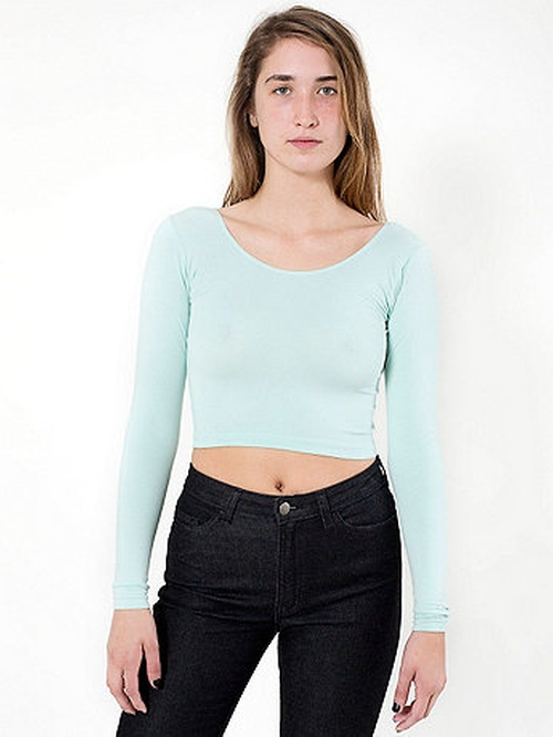 Cotton Spandex Jersey Long Sleeve Crop Top by American Apparel in Scream Queens - Season 1 Episode 12