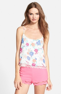 Print Lace-Up Back Camisole Top by Derek Heart in Trainwreck
