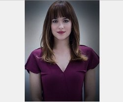 Custom Made Wine Cap Sleeve Dress by Mark Bridges (Costume Designer) in Fifty Shades of Grey