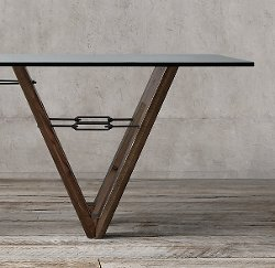 Reclaimed Wood & Glass V-Form Rectangular Dining Table by Restoration Hardware in Vice