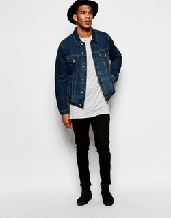 Dark Wash Denim Jacket by Asos in Roadies