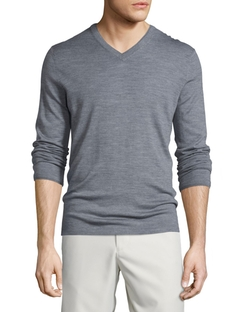 Wool-Blend V-Neck Sweater by Vince in Ballers