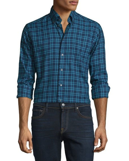 Plaid Woven Sport Shirt by Eton in Office Christmas Party