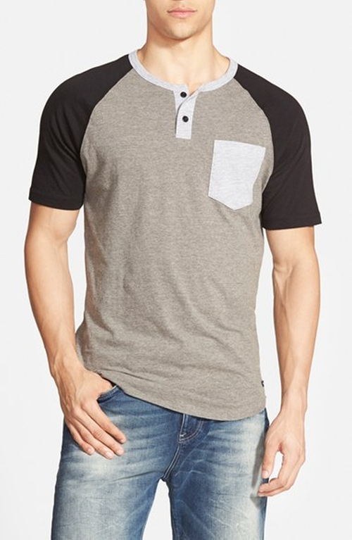 'Come Up' Colorblock Henley T-Shirt by RVCA in Pretty Little Liars - Season 6 Episode 7