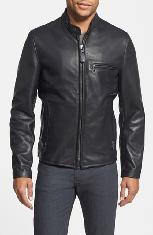 Café Racer Moto Leather Jacket by Schott NYC in Furious 7