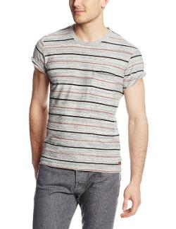 Men's Short Sleeve Marled Striped Crew Neck T Shirt by 7 For All Mankind in We're the Millers