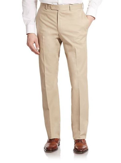 Stretch Cotton Dress Pants by Saks Fifth Avenue Collection in Barely Lethal