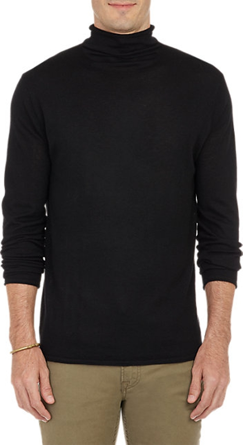 Rolled-Edge Turtleneck Sweater by Barneys New York in Barely Lethal