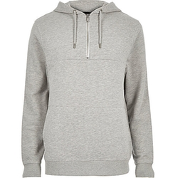 Marl Zip Neck Hoodie by River Island in The Choice