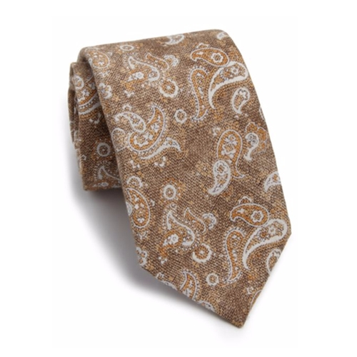 Paisley Silk & Wool Tie by Isaia in Gold