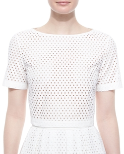 Mesh Short-Sleeve Crop Top by Lela Rose in Empire