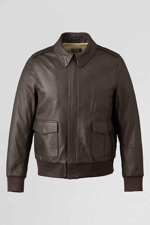 Men's Willis & Geiger Leather Bomber Jacket by Lands' End in Unbroken