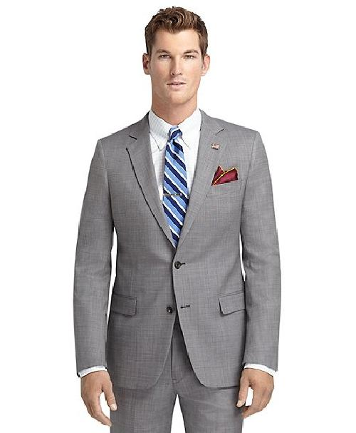 Fitzgerald Fit Grey Nailhead 1818 Suit by Brooks Brothers in The Great Gatsby