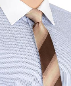 Brown And Tan Striped Pattern 7 Fold Silk Neck Tie by Kiton in Unbroken