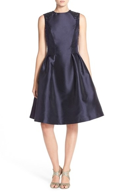 Sequin Mikado Fit & Flare Dress by Carmen Marc Valvo Infusion in The Blacklist