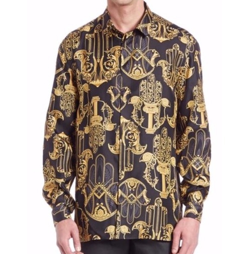 Printed Button Down Shirt by Versace in Empire