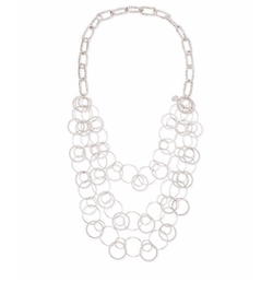 Rhodium Electroplate Multi-Circle Necklace by Devon Leigh in Suits