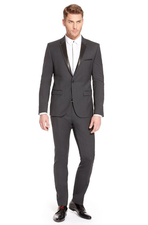'Adwards/Hens' | Slim Fit, Stretch Virgin Wool Tuxedo with Faux Leather Trim by HUGO BOSS in Jersey Boys