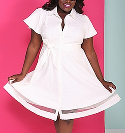 White Shirtdress by Christian Siriano For Lane Bryant in Empire