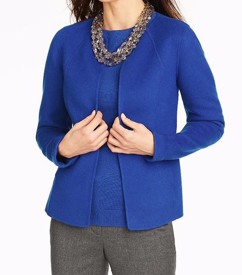 Solid Double Face Open Jacket by Talbots in Scandal