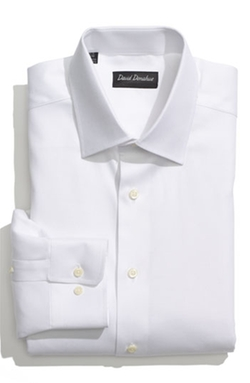 Regular Fit Oxford Dress Shirt by David Donahue in Black Mass