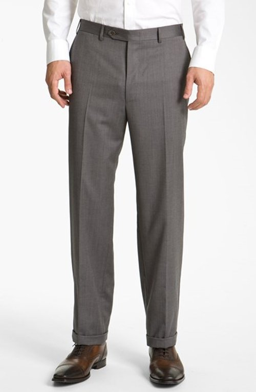 Flat Front Wool Trousers by Canali in Black or White