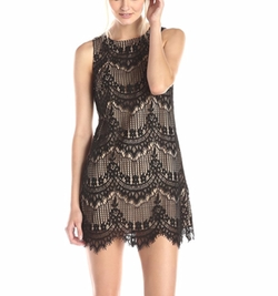 Amy Sleeveless Corded Lace Dress by CeCe By Cynthia Steffe in Guilt