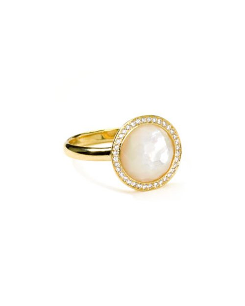 18k Gold Rock Candy Mini Lollipop Diamond Mother-of-Pearl Ring by Ippolita in Couple's Retreat